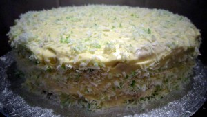 Coconut lime cake close up