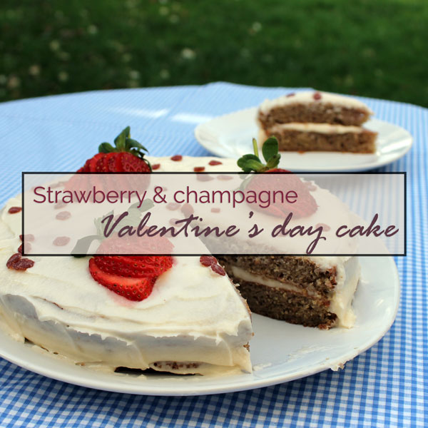 Strawberry & champagne valentine's day layer cake