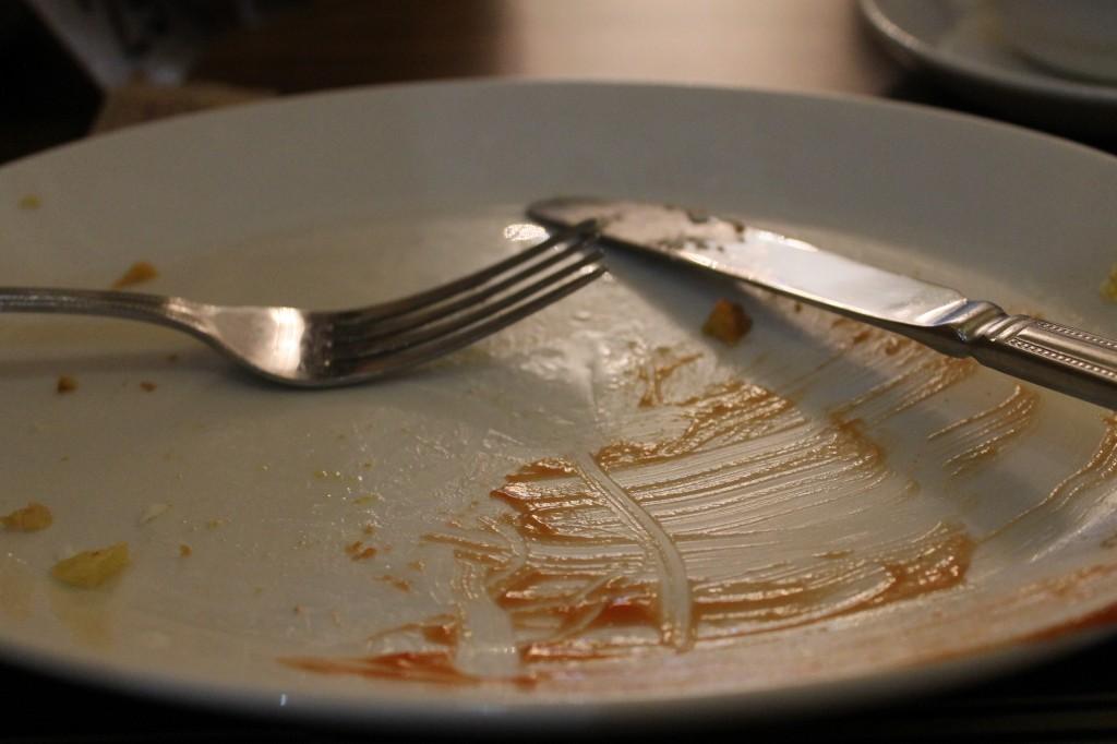 Empty plate of a very happy coeliac