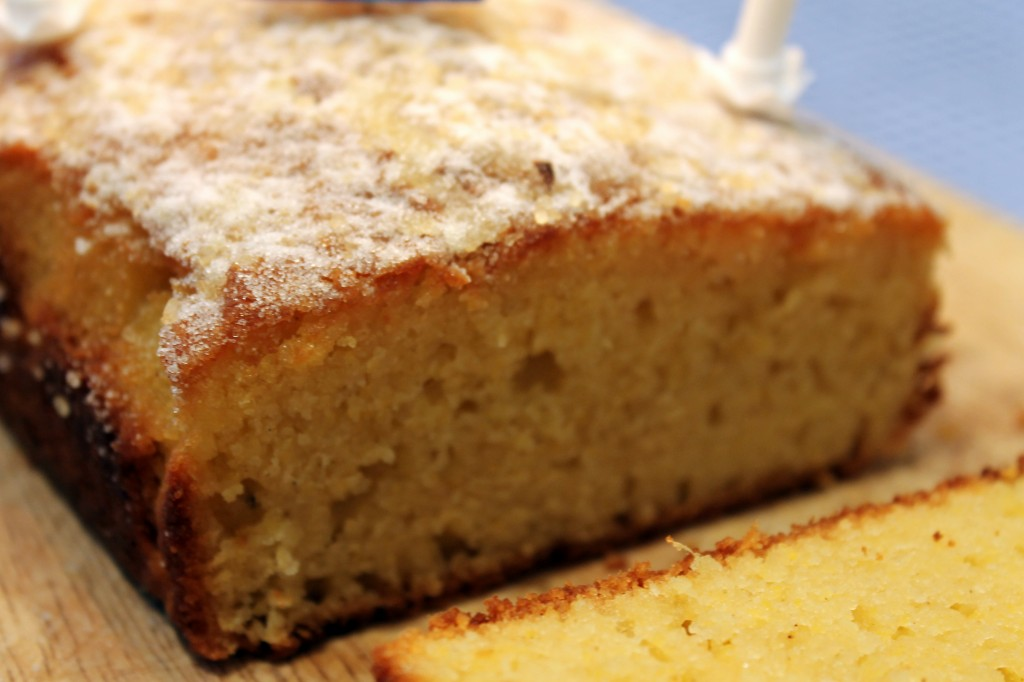 super close up of lemon drizzle cake