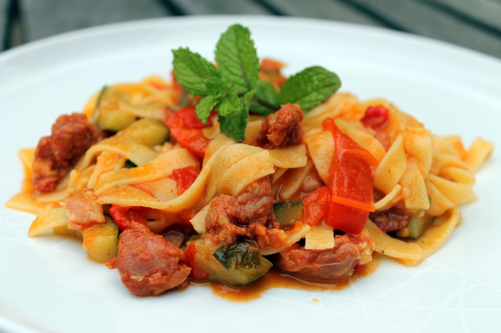 pasta dish using dell'ugo gluten-free tagliatelle