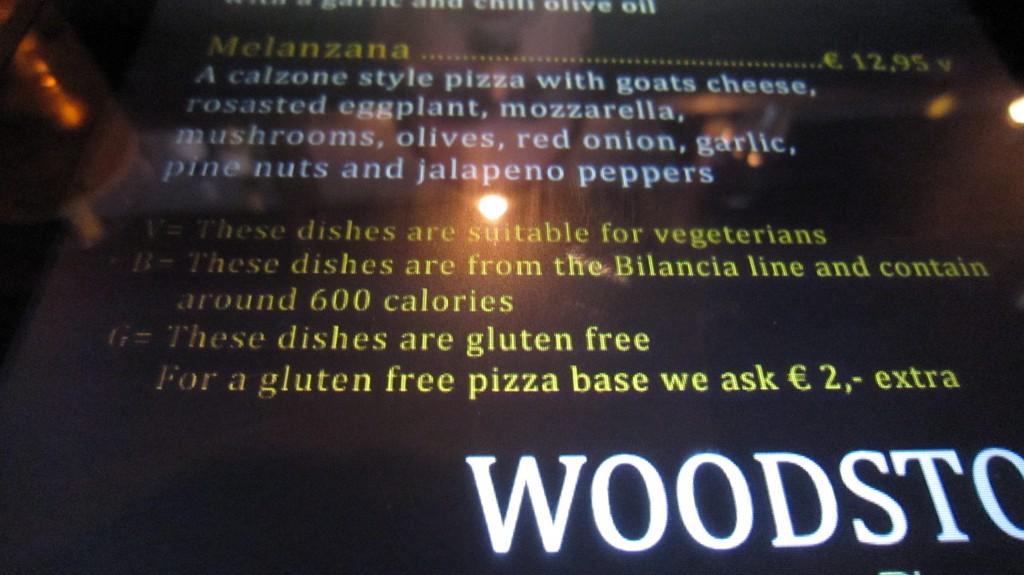 Gluten-free menu Woodstone
