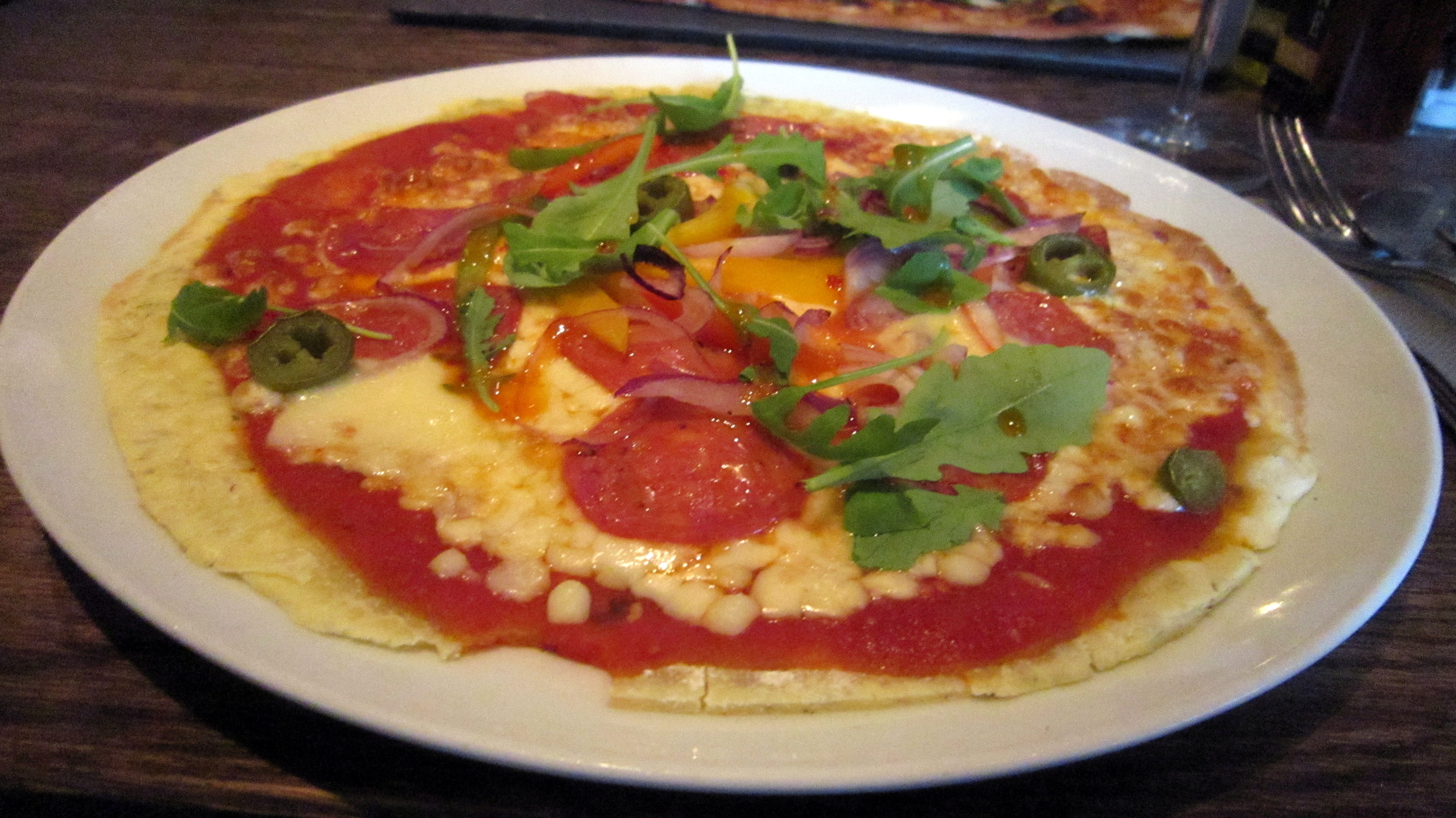Gluten-free Americano pizza at Woodstone