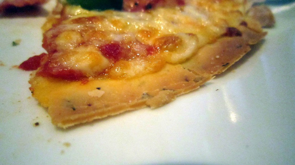 Close up of gluten-free pizza crust