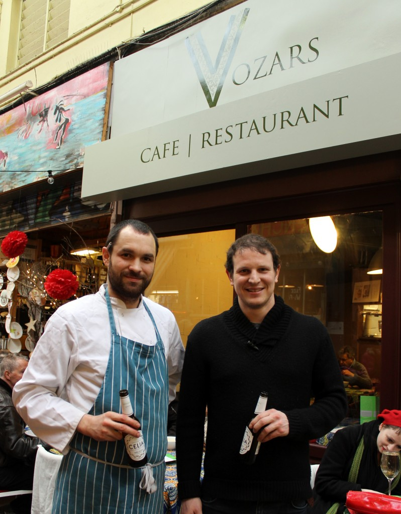 Martin and Nick at Vozar's, a gluten-free restaurant in Brixton, London