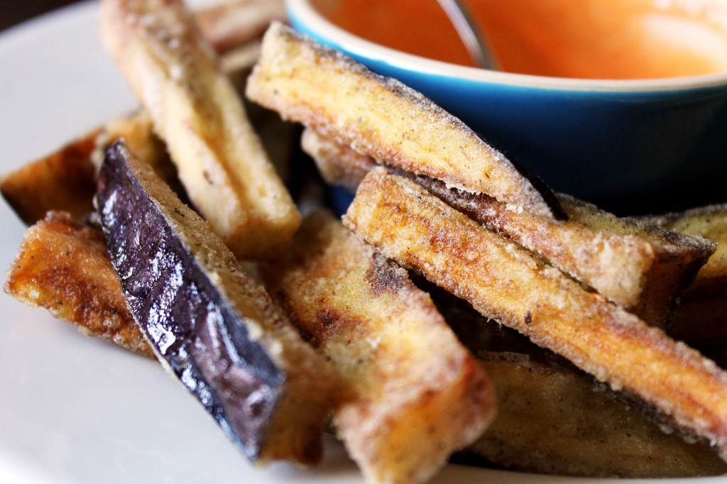 Close up of gluten-free aubergine fries