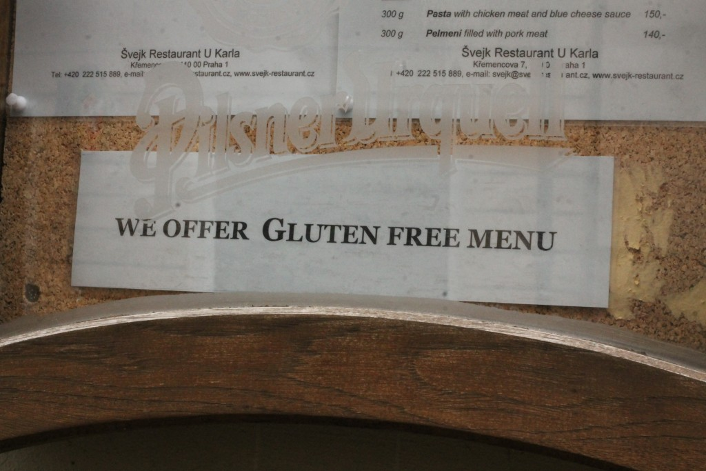 Gluten free menu at Restaurant U Karla