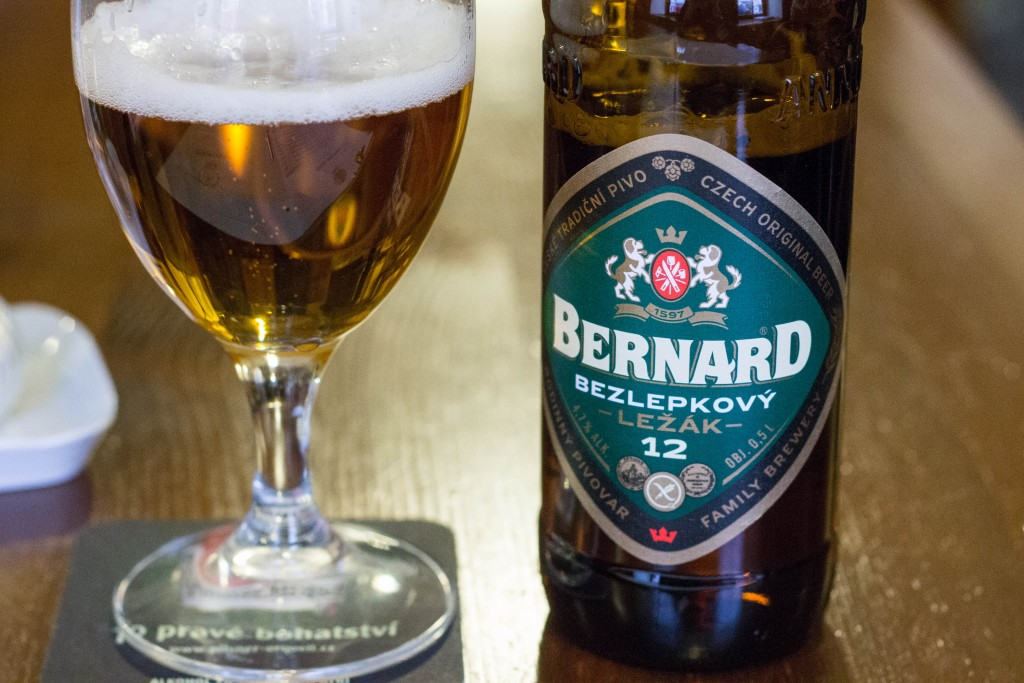 Gluten-free Bernard beer at Restaurant U Karla, Prague
