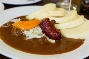 Beef goulash with gluten-free dumplings at Restaurant U Karla, Prague