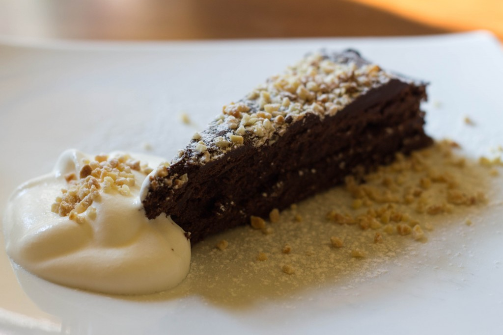 Gluten-free flourless chocolate cake at Little Whale, Prague