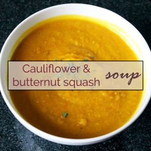 Cauliflower and butternut squash soup (GF, DF, vegan)