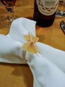 Gluten-free pasta napkin decorations at Alriso, Prague