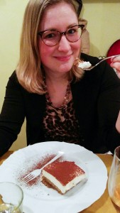 Enjoying the gluten-free tiramisu at Alriso, Prague