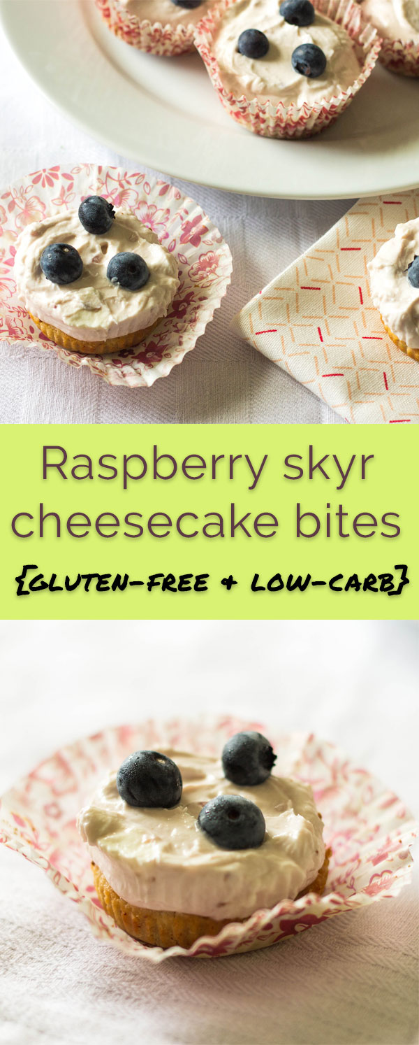 Raspberry skyr cheesecake bites